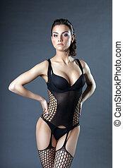 Passionate brunette posing in erotic lingerie - Passionate...