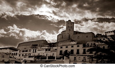 view of cathedral in ibiza old town