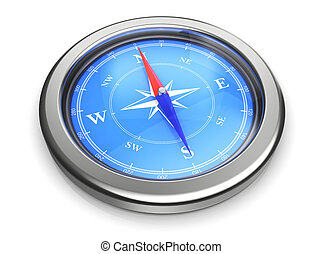 compass icon - 3d rendering of compass over white background