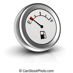 3d icon of fuel gauge indicates empty tank