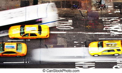 abstract manhattan street scene with traffic and people, nyc, america