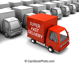 choice fast delivery - conceptual 3d illustration of choice...
