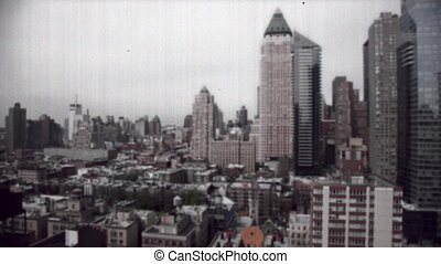 skyscrapers and towers in manhattan skyline view, with a...