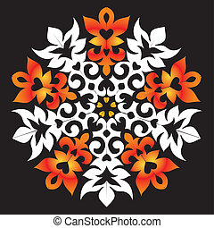 Orange snowflake - Decorative snowflake, ornament in a...