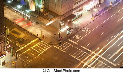 long exposure timelapse shoot of manhattan street scene with traffic and people at night, nyc, america