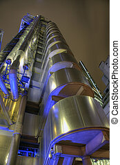 Night time view up the Lloyds Building in London