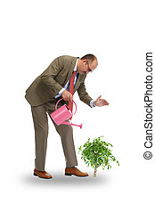 The businessman pours green tree - The businessman with pink...