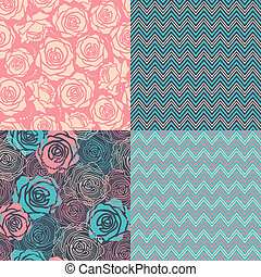 Four seamless set Floral patterns and zigzig geometric...