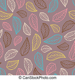 Colorful leaf silhouettes seamless on brown background