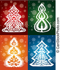 collection of lacy trees vector winter