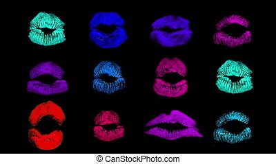 pattern made from lipstick marks of a womans lips