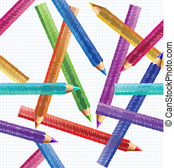 Illustration Pencil Seamless Pattern. Vector