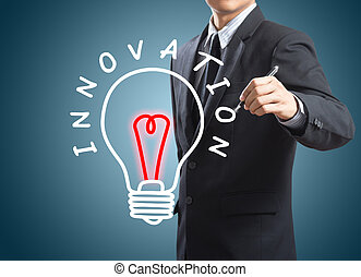 Man drawing innovation concept - Business man writing...