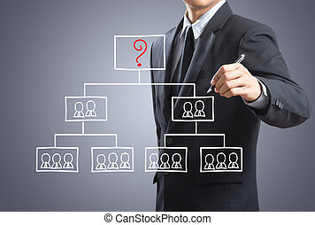 Man drawing organization chart - Business man drawing...