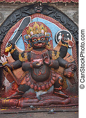 Statue of hindu deity Shiva in the form of fearful Bhairab...