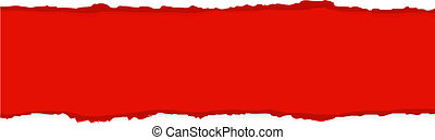 Red Fragmentary Paper Border, Vector Illustration