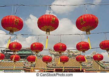chinese paper lanterns in chinese new year, Yaowaraj china town in Bangkok, Thailand.
