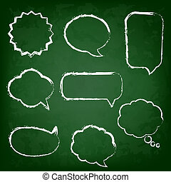 Green Chalk Board With Speech Bubble Set, Vector...