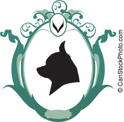 Portrait of Chihuahua  dog in frame,  Icon or logo,