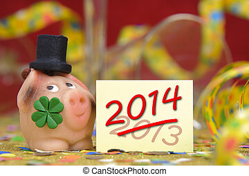 talisman for new year 2014 - pig with clover leaf as...
