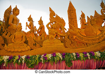 candle hand craft in candle festival in thailand