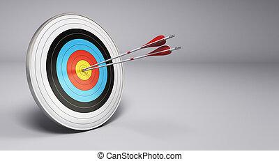 setas, bater, alvo, tiro com arco