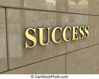 Word Success - The word Success is chiseled by gold letters...