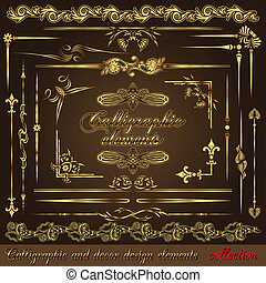 Gold calligraphic design elements vol2. Vector design...
