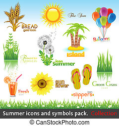 Summer collection - Summer icon and symbol pack. Vector...