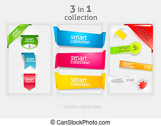 Ribbon and banner collection. Vector bookmarks. Design...