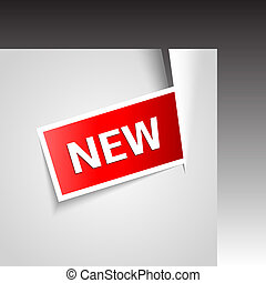 Vector incise corner with new label. Promotional symbol.