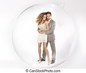Young coupe closed in glass ball - Young coupe closed in...