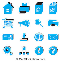 Web icon set - Collection of web icons; blue
