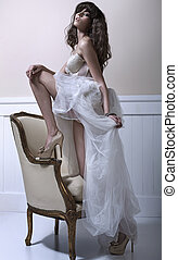Young beautiful bride with high-heel shoes - Young pretty...