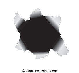 Large hole in the white paper Vector background Black hole...