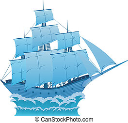 Blue dream - Ancient wooden blue sailboat on white...