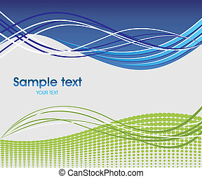 Dynamic wave background in blue and green.