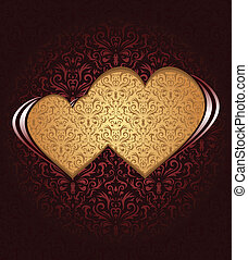 Two hearts on dark background and damask texture