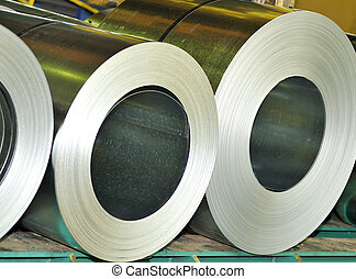 rolls of sheet - rolls of steel sheet in a warehouse