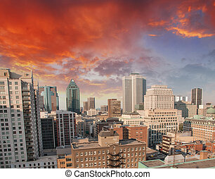 Montreal, Canada. Beautiful aerial view of city skyscrapers