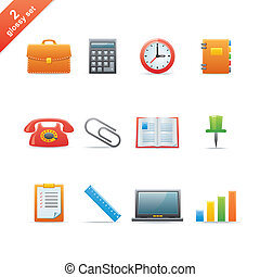 Glossy icon set 2 - Set of 12 glossy web icons Part 2 (see...