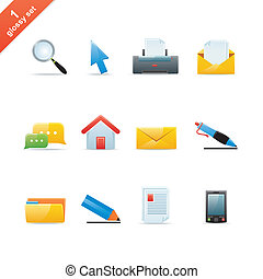Glossy icon set 1 - Set of 12 glossy web icons Part 1 see...