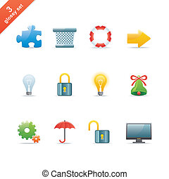 Glossy icon set 3 - Set of 12 glossy web icons Part 3 (see...