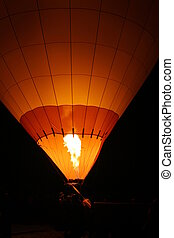 Hot Air Balloon - Hot air baloon with flame from burner.