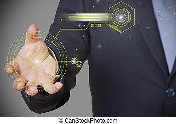 businessman claw control - businessman claw shining green...