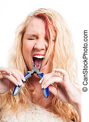 Quick tooth extraction - Desperate woman with toothache...
