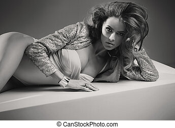 Art black-white photo of sensual girl