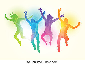 Jumping Young Adults - Vector illustration, grouped and...