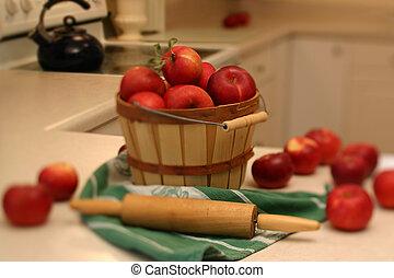 bountiful harvest - Basket full of apples. narrow strip of...