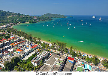 Patong tropical beach from aerial view, Phuket Thailand